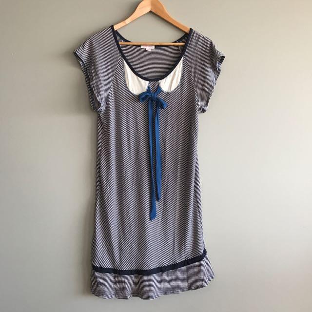 Stripe Jersey Dress, Size XS By Deborah Sweeney