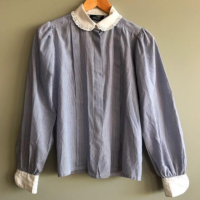 Vintage Long Sleeve Striped Shirt Blouse, Size 10,  By Pelaco Australia