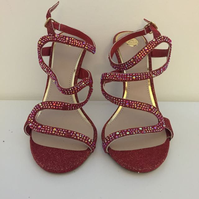 Zu Shoes Bejewelled Red Strappy Heels