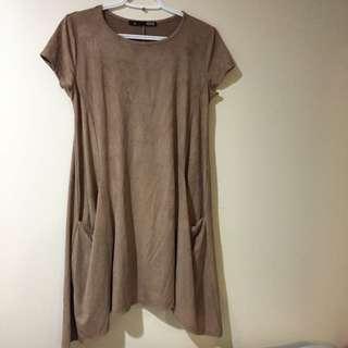 Faux Suede Flowy Dress - Tan / Brown