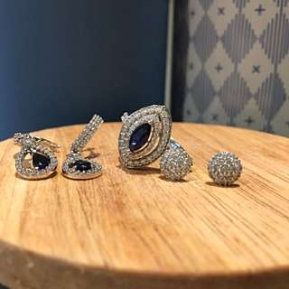 18 K White Gold. Diamanté Is Cubic Zirconia With Blue Stone Sets Of 3