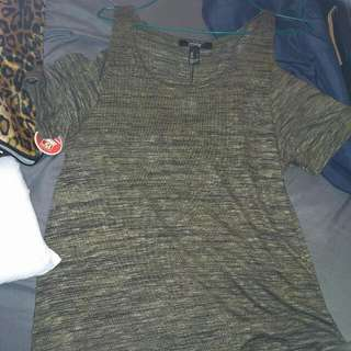 Cold Shoulder Dress From Urban Planet. New With Tags. Size L. Olive Green.
