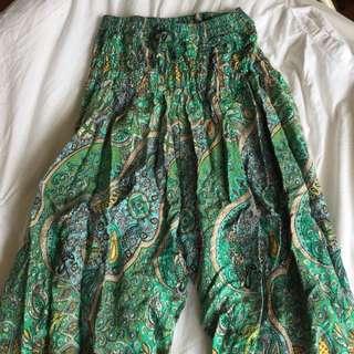 Green Paisley Print Hippy Pants