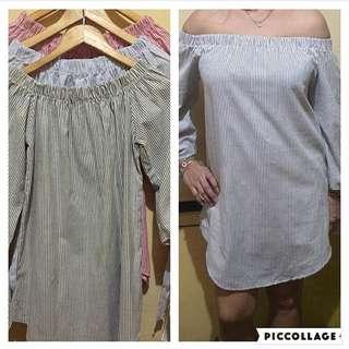 Pinstriped Off shoulder dress