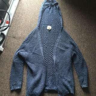 Blue Knit Hoodie