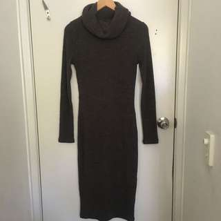 Ribbed Turtle Neck Bodycon Knit Dress
