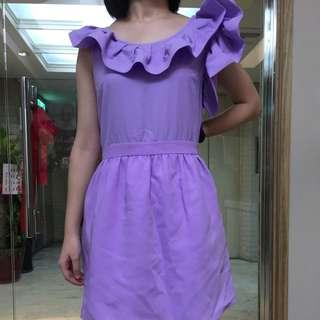 淡紫花袖合身短洋
