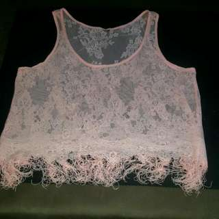 Womens Size 12 Over Sized Mesh Crochet Look With Tassels Baby Pink Crop Top