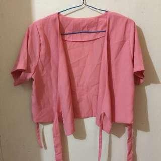 BAJU Outer Kimono Crop (pink) #BajuMurah
