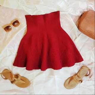 Maroon Knitted Highwaist Skirt