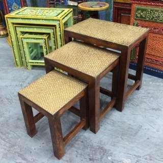印度銅片木茶几side Table