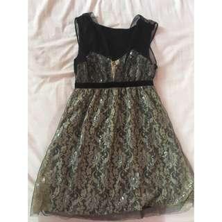 Lace Goldish Silver Dress