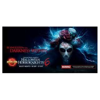 Halloween Horror Nights 6 Ticket (Each @ $50) Physical Open Date Tickets