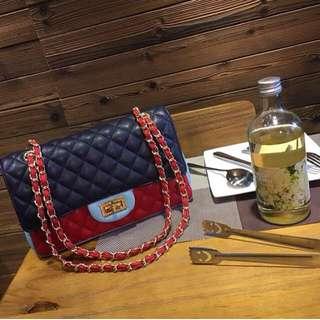 Tri Color Flap Bag 25cm
