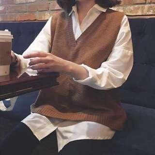 針織 背心 韓 寬鬆 秋冬款 學生必備 毛衣 小清新 文青(駝色/深藍)
