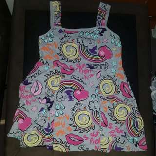 Womens Super Cute Cartoon Grey Size 12 Sun Dress Vgc