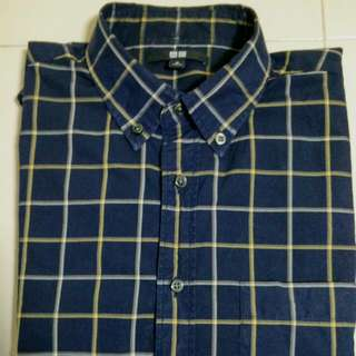 (UNIQLO)Men Extra Fine Cotton Broadcloth Checked Long Sleeve Shirt