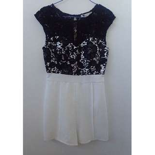 Gorgeous white playsuit with black lace overlay  Size 8