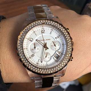 Authentic Michael Kors Rose Gold and Clear 'Madison' Watch