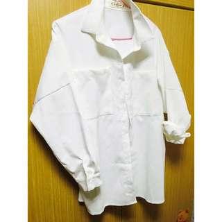 降💕燈芯絨寬版白色外套
