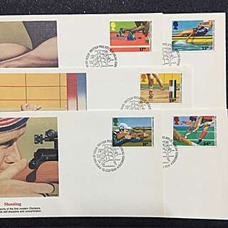 GB 1986 Commonwealth Games 5xFDCs stamps