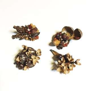 ✨全部150✨古董老奶奶的珠寶/種子胸章別針/種子項鍊墜子