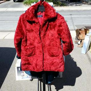 Red Furry Winter Coat Jacket
