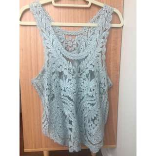 On Hold  Cute Lace Tanktop Size medium Minty Gray