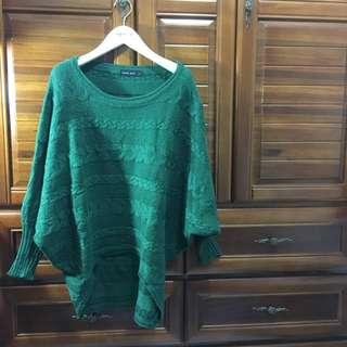 Queenshop綠色針織針織飛鼠袖毛衣