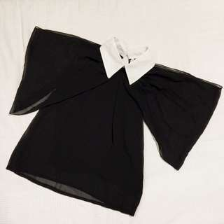 Off Shoulder Chiffon Collared Top