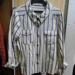 條紋襯衫外套