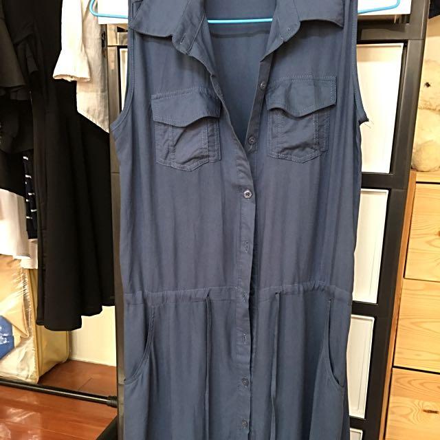 藍色無袖洋裝