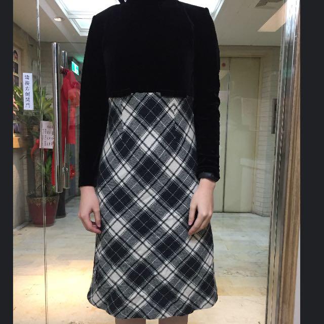 黑色格紋毛洋裝