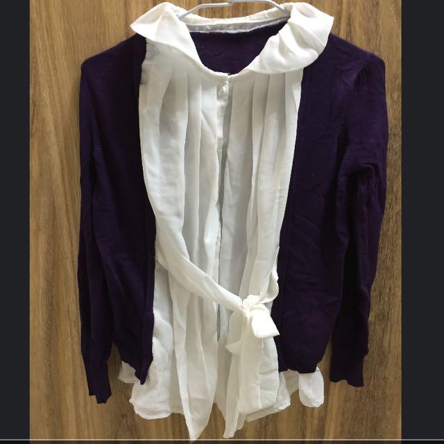 假兩件針織雪紡襯衫