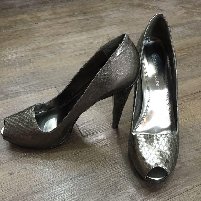 金屬色魚口鞋