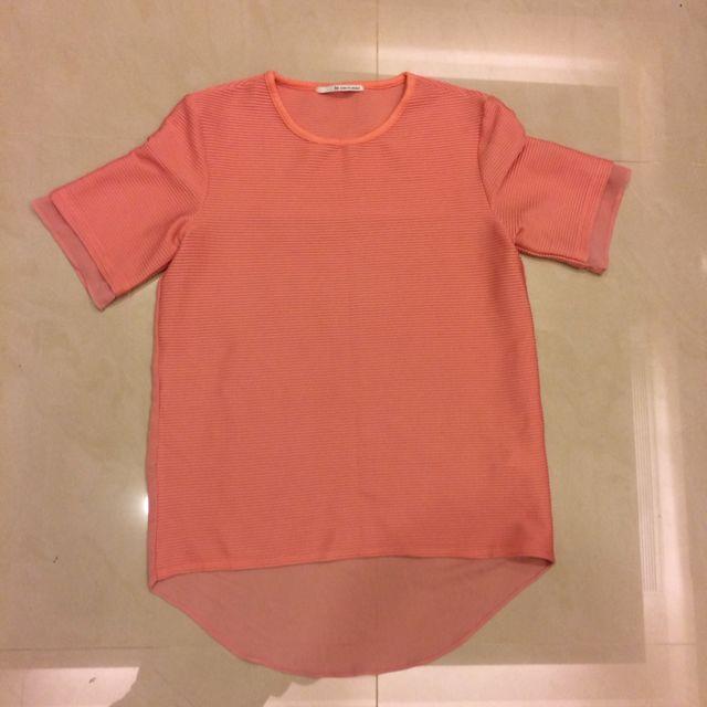 韓貨珊瑚橘質感上衣
