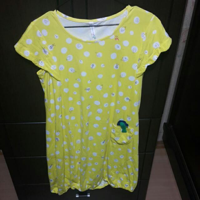 a la sha黃色短袖洋裝