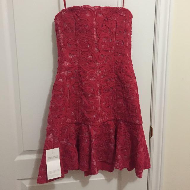 BCBG Marina Strapless Ruffle-Hem Dress