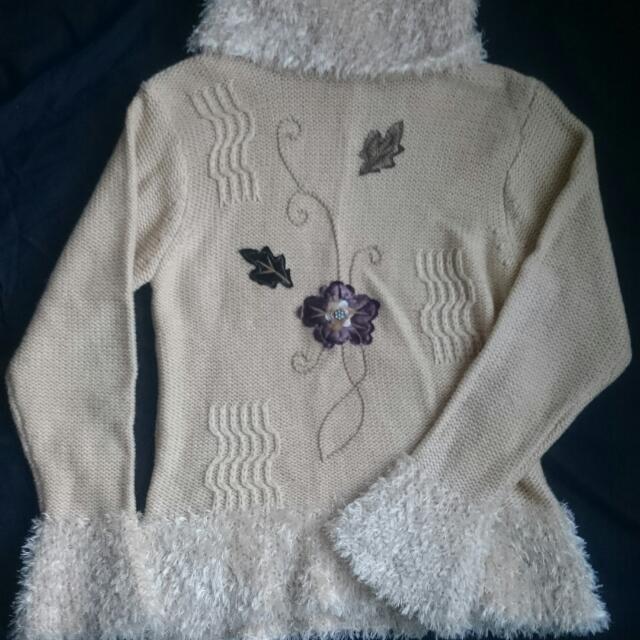 Beige High Cut Turtleneck Knit Sweater