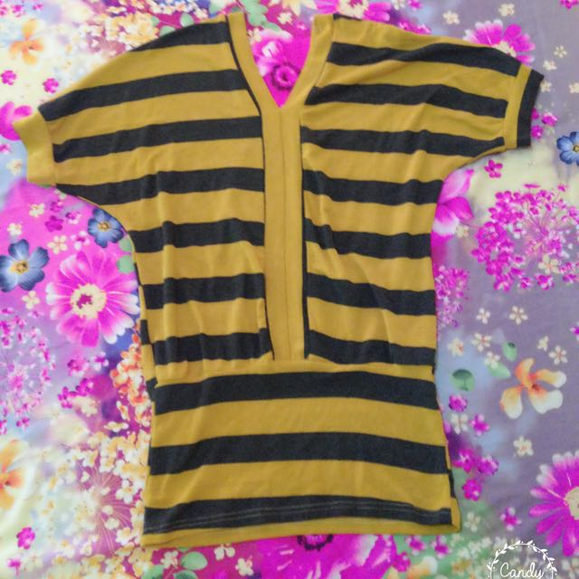 Black And Yellow Striped Blouse