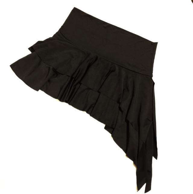 Black Asymmetrical Ruffled Mini Skirt