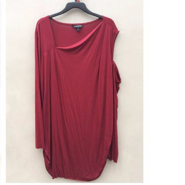 [REPRICE] Cold Shoulder Mini Dress - Maroon