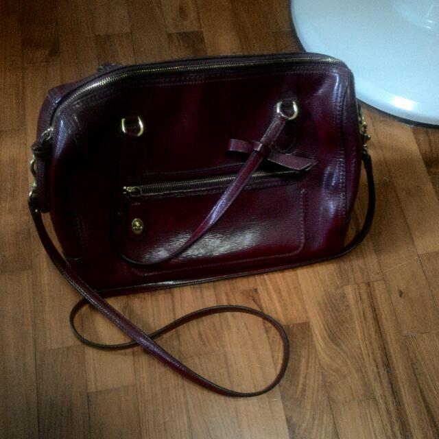[Reserved] Dark Red Authentic Coach Handbag