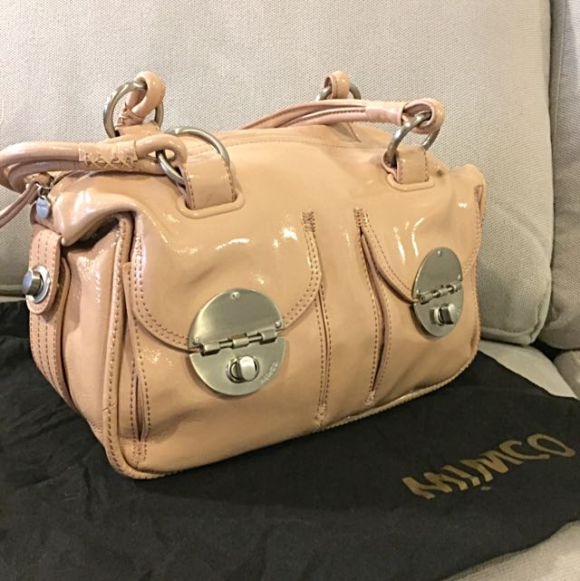 EUC Mimco Mini Turnlock Zip Top Bag- Nude Peach