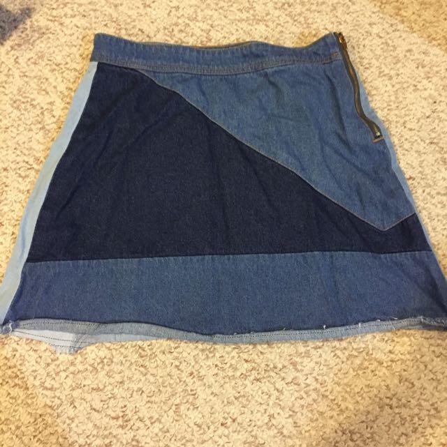 Forever 21 Patch Denim Skirt