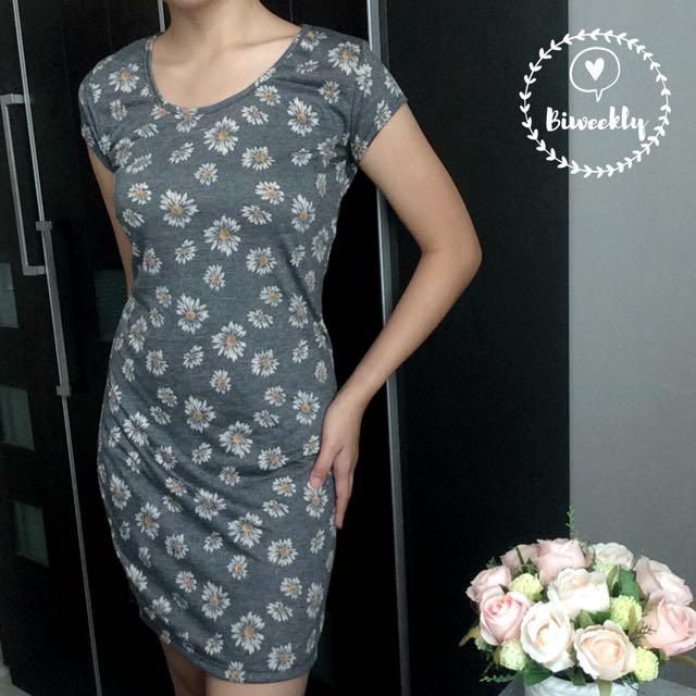 Mango Grey Floral Printed Dress