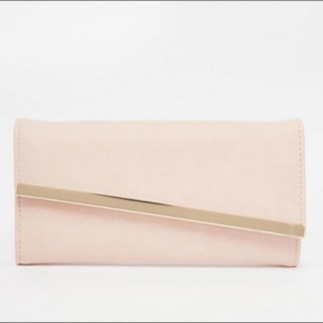 NWOT Brand New ASOS Slanted Bar Detail Purse Peach