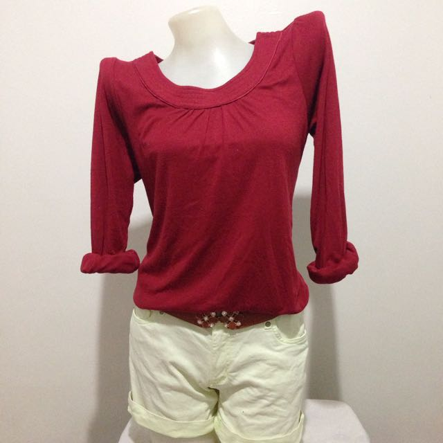 Red Casual Sleeve Blouse/top