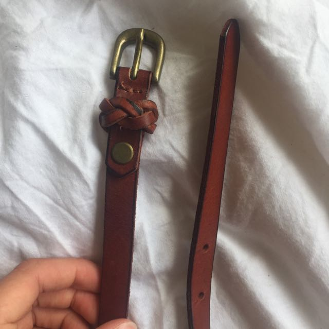 Sportsgirl Brown Leather Belt Gold Buckle