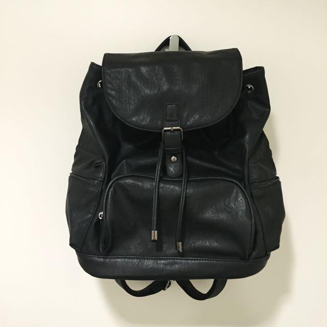 Strandbag Black Leather Backpack